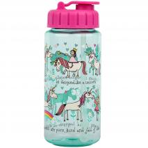 Botella agua con pajita Unicornios