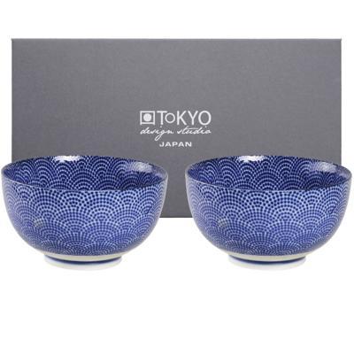 Set japonés azul 2 boles arroz dots