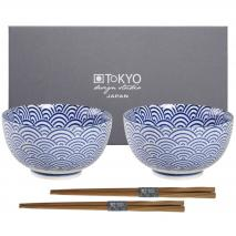 Set japonés azul 2 boles arroz ola