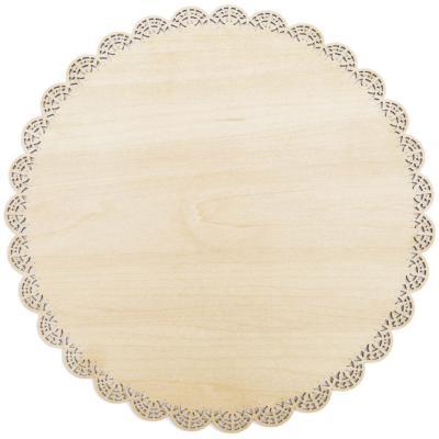 Plato presentación redondo madera encaje Bois