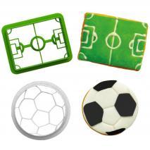 Set 2 cortadores galletas plástico Fútbol
