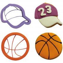 Set 2 cortadores galletas plástico Baloncesto