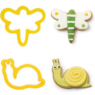 Set 2 cortadores galletas plástico Caracol y Libél