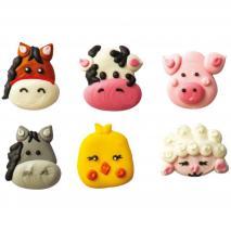 Set 6 decoraciones de azúcar Animales Granja