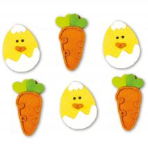 Set 6 decoraciones de azúcar Pollito y Zanahoria