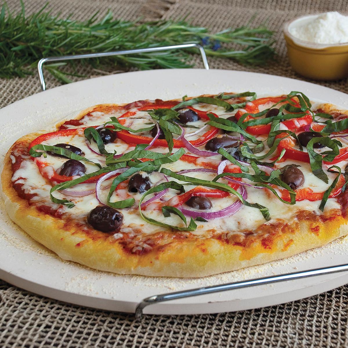 Piedra pizza y horno con soporte 33 cm