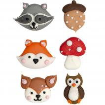 Set 6 decoracions de sucre Animals bosc