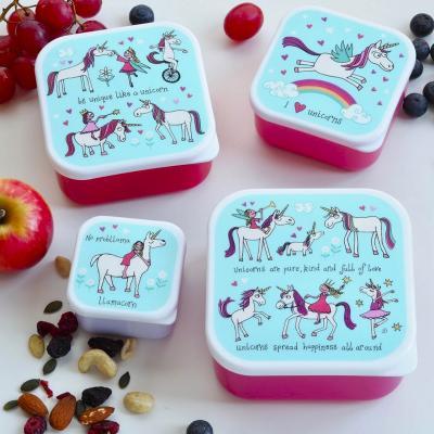 Set 4 fiambreras snack Unicornios