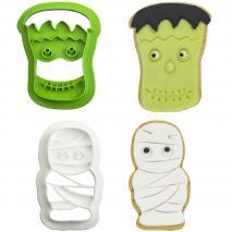 Set 2 talladors galetes plàstic Monstre i Mòmia