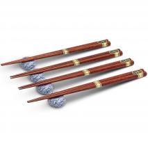 4 pares palillos japoneses con 4 soportes olas