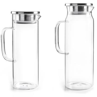 Jarra agua nevera cristal con tapa acero