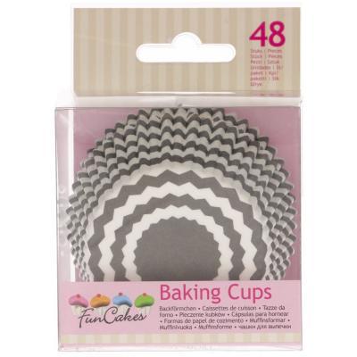 Papel cupcakes x48 Chevron gris