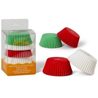 Papel cupcakes x75 blancos, rojos y verdes
