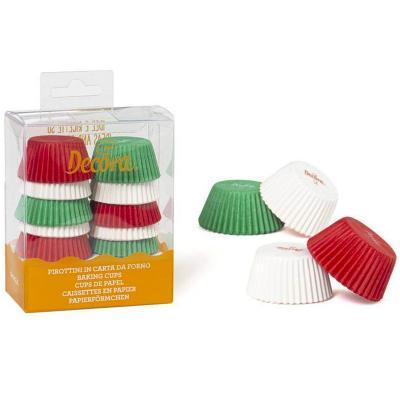 Papel mini cupcakes x200 rojo, verde y blanco