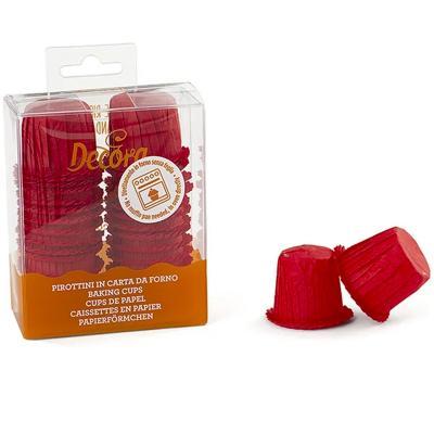 Papel mini cupcakes ondulados x35 rojos