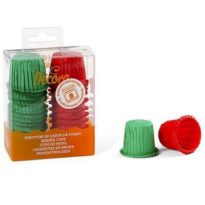Papel mini cupcakes ondulados x35 rojos y verdes