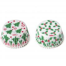 Papel cupcakes x36 Holly Navidad