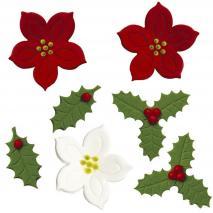 Set 7 decoracions de sucre fulla de grèvol i flors