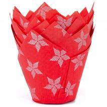 Papel cupcakes x36 Tulipa rojo estrellas