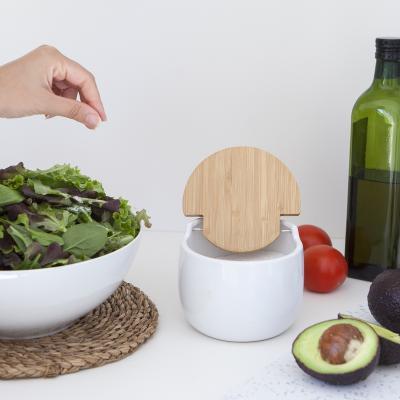 Salero de cocina oval con tapa bambú