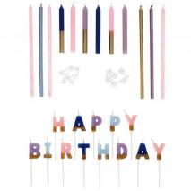 Set de 25 espelmes Floral Happy Birthday