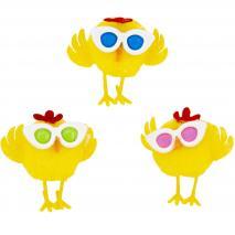 Pollito amarillo con gafas colors Pascua 4 cm