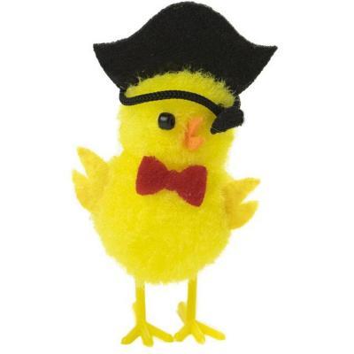 Pollito amarillo de lana pirata 6 cm