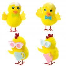 Pollito amarillo de lana gafas bolso/cáscara 5 cm
