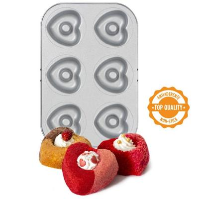 Molde antiadherente donut corazón 6 cav 7,5 cm
