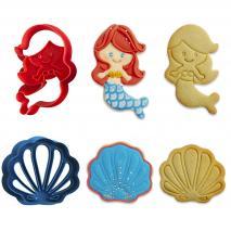 Set 2 cortadores galletas Sirena y Concha