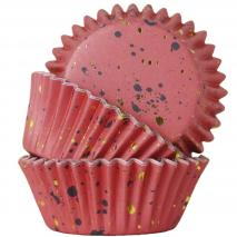 Papel cupcakes metalizados x30 manchas rosa oro