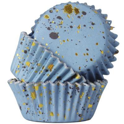 Papel cupcakes metalizados x30 manchas azul oro
