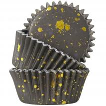 Papel cupcakes metalizados x30 manchas negro oro