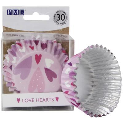 Papel cupcakes metalizados x30 Love corazones
