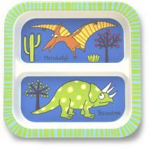 Plato infantil de bambú con divisor Dinosaurios