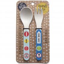 Set tenedor y cuchara bambú Camiones
