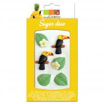 Set 6 decoracions de sucre Tropical