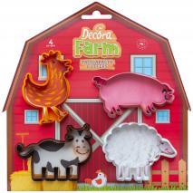 Set 4 cortadores galletas Animales Granja