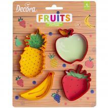 Set 4 cortadores galletas Frutas