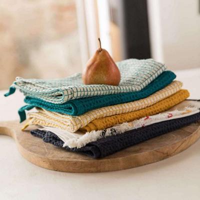 Paño de cocina nido de abeja 100% algodón Uni azul