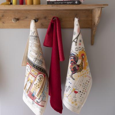 Paño de cocina nido de abeja 100% algodón Uni rojo