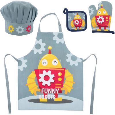 Set delantal cocina infantil 100% algodón Robot