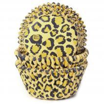 Papel cupcakes x50 Leopardo amarillo