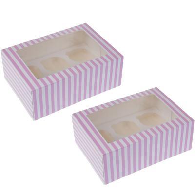 Juego 2 cajas para 6 cupcakes Rosa Circo