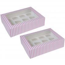 Juego 2 cajas para 12 cupcakes Rosa circo