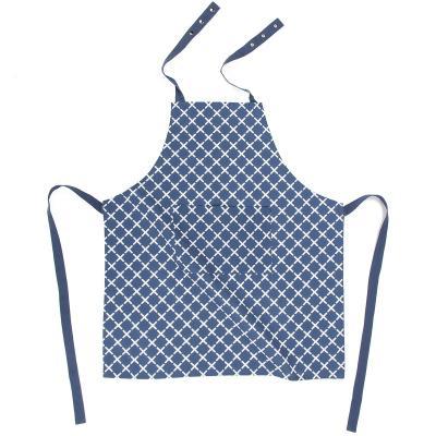 Delantal de cocina 100% algodón Geo cross azul