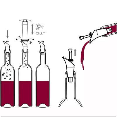2 tapones vino vacío y escanciador bomba 2 en 1