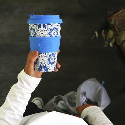 Taza fibra madera con tapa Ecoffee 400 ml Delft